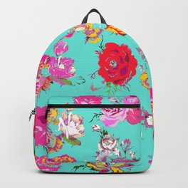 Floral with pink, red, yellow, and cream blooms. Version2 Backpack