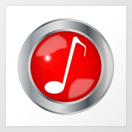 Red Musical Note Button Art Print