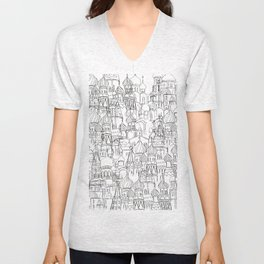 Russian cathedral church line drawing Unisex V-Neck
