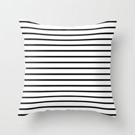 Horizontal Black Stripes Pattern Throw Pillow