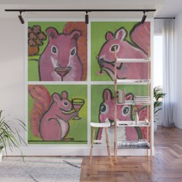 Pink Squiirrels Wall Mural
