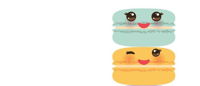 Kawaii macaroon funny orange blue lilac cookie with pink cheeks with pink cheeks and big eyes Coffee Mug