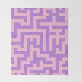 Cotton Candy Pink and Lavender Violet Labyrinth Throw Blanket