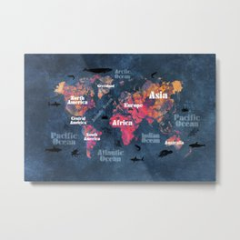 world map 115 #worldmap #map Metal Print