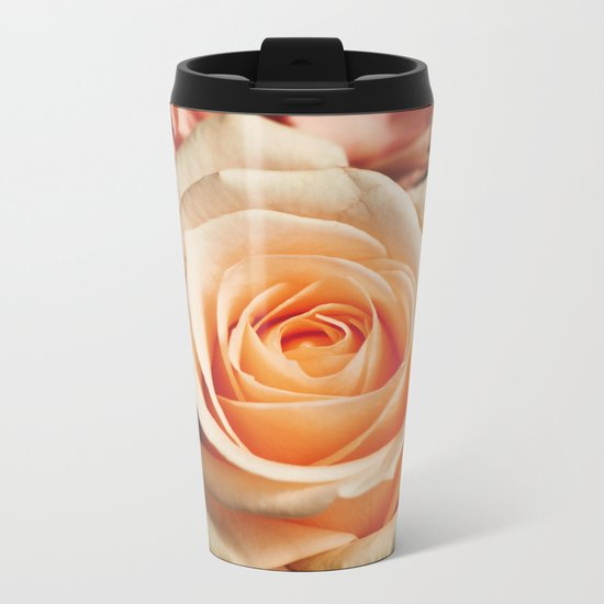 Romantic Rose Pink Rose Metal Travel Mug
