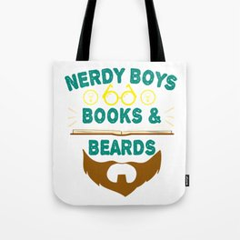 """Nerdy Boys Books And Beards"" tee design for beard lovers like you! Makes a unique gift too!  Tote Bag"