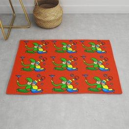 "Multiplied Twin Jugglers In Color for Kids on Red Board  ""Paper Drawings/Paintings"" Rug"