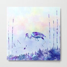 Stork Landscape In Alcohol Ink Art Metal Print