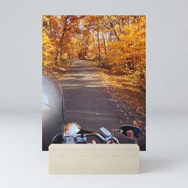 See the world from the back of a motorcycle Mini Art Print