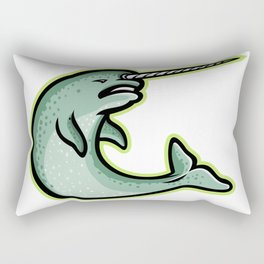 Angry Narwhal Mascot Rectangular Pillow