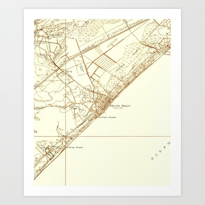 image about Printable Map of South Carolina identified as Classic Map of Myrtle Seaside South Carolina (1937) Artwork Print through bravuramedia