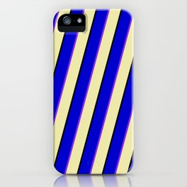 Blue, Purple, Pale Goldenrod, and Black Colored Pattern of Stripes iPhone Case