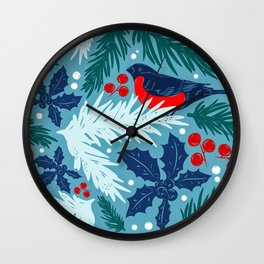 Christmas Tree With Bird and Holly Pattern Wall Clock