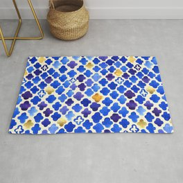 Rustic Watercolor Moroccan in Royal Blue & Gold Rug