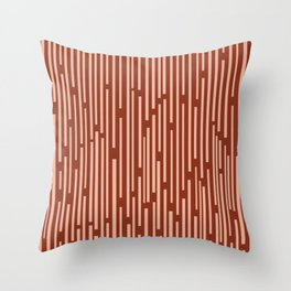 Leitungen Minimalist Mid-Century Modern Pattern in Salmon and Maroon Rust Throw Pillow