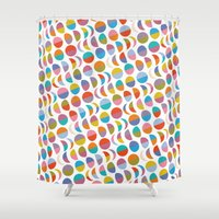 moon phases Shower Curtains featuring Moon phases by Helene Michau