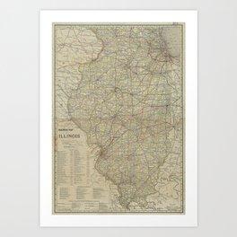 Vintage Map of Illinois Railroads (1910) Art Print
