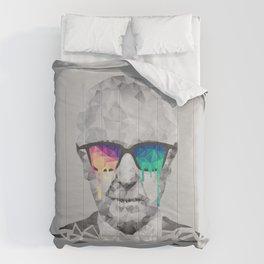 Albert Hofmann - Psychedelic Polygon Low Poly Portrait Comforters
