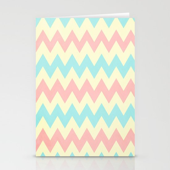 Summer Pink & Blue Chevron Stationery Cards