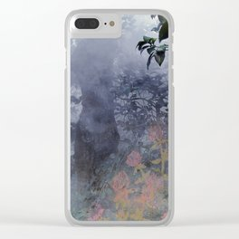 magical forest with ghostly flowers Clear iPhone Case