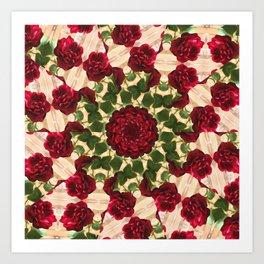Old Red Rose Kaleidoscope 10 Art Print