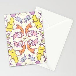 Symmetry Pastelcolor Cute Cats Stationery Cards