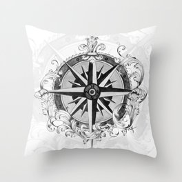 Black and White Scrolling Compass Rose Throw Pillow