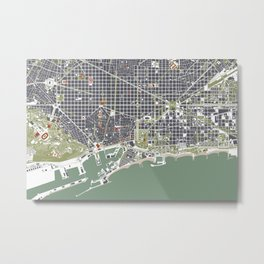 Barcelona city map engraving Metal Print