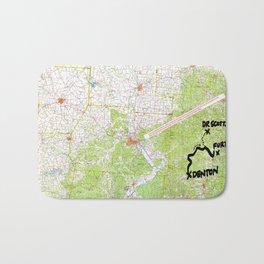 Map of Denton, USA Bath Mat