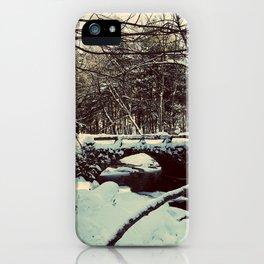 Snowy Bridge in Vaughan's Woods iPhone Case