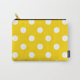 Polka Dots - White on Gold Yellow Carry-All Pouch