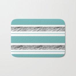 Aqua Blue Stripe with Silver Bath Mat
