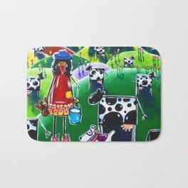 Moo Cow Farm Dairy Farmer Western Cowboy Boots Trees Cows Flowers Dog Milk Rancher Milking Bright Bath Mat