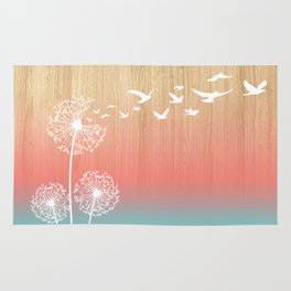 Dandelions Blow Into Birds Wood Pink Teal Rug
