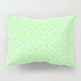 Japanese Waves (White & Light Green Pattern) Pillow Sham