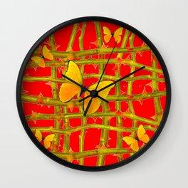YELLOW BUTTERFLIES & RED THORN LATTICE Wall Clock