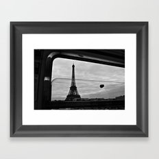 Eiffel Tower through window Framed Art Print