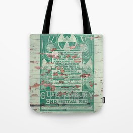 Distressed Glastonbury 1982 Poster Tote Bag