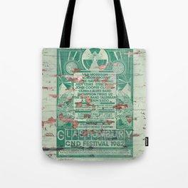 Distressed Glastonbury 1982 Poster Tote Bag