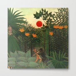 "Henri Rousseau ""Tropical Landscape - subtitled An American Indian Struggling with a Gorilla"" Metal Print"