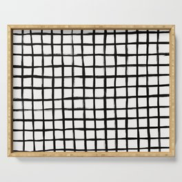 Strokes Grid - Black on Off White Serving Tray