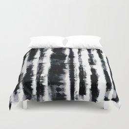 Tie-Dye Shibori Stripe BW Duvet Cover