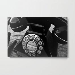 B&W Telephone Metal Print