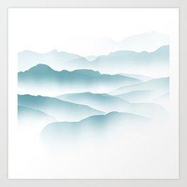 blue minimalist clouds Art Print