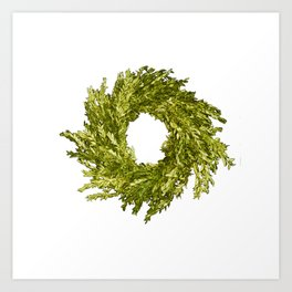 Box wood wreath round circle holiday celebrate Art Print