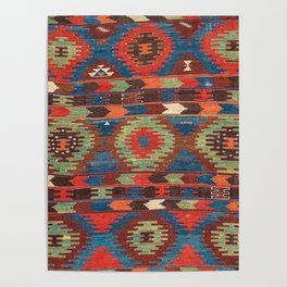 Tuscan Shapes I // 19th Century Southwestern Colorful Red Blue Orange Green Brown Ornate Rug Pattern Poster