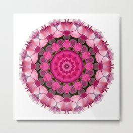 Beautiful pink Blossoms 001, Nature Mandala Metal Print
