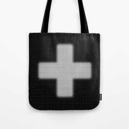 Halftone Plus Black Tote Bag
