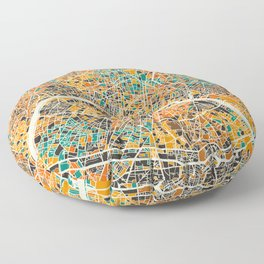 Paris mosaic map #2 Floor Pillow