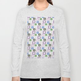 Geometrical lilac lavender blue forest green squares pattern Long Sleeve T-shirt